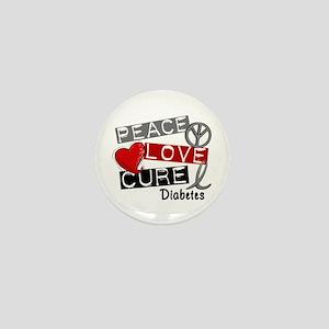 Peace Love Cure Diabetes Mini Button