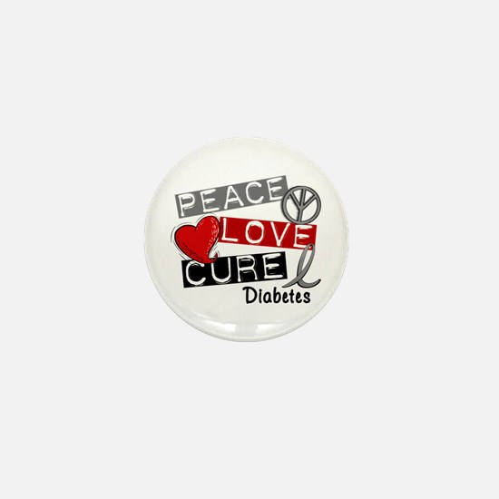 Peace Love Cure Diabetes Mini Button