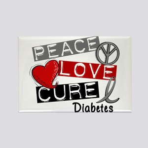 Peace Love Cure Diabetes Rectangle Magnet