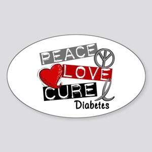 Peace Love Cure Diabetes Sticker (Oval)