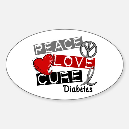 Peace Love Cure Diabetes Sticker (Oval)