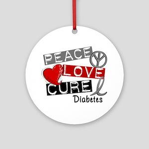 Peace Love Cure Diabetes Ornament (Round)