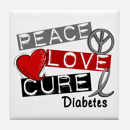 Peace Love Cure Diabetes Tile Coaster
