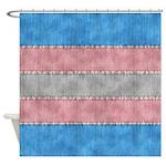 Transgender Denim Flag Shower Curtain