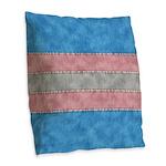 Transgender Denim Flag Burlap Throw Pillow