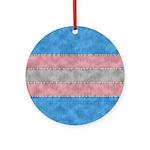 Transgender Denim Flag Round Ornament