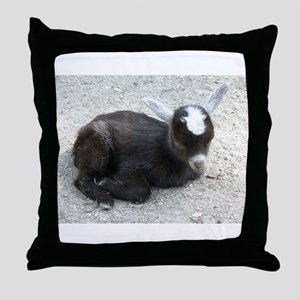 Curled Up Baby Goat Throw Pillow