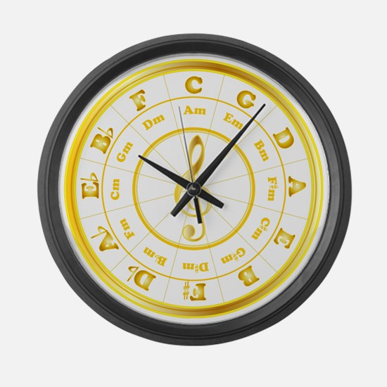 """""""Gold"""" Circle of Fifths Large Wall Clock"""