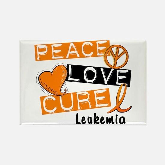 PEACE LOVE CURE Leukemia (L1) Rectangle Magnet