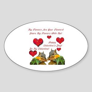 Squirrel Love Oval Sticker