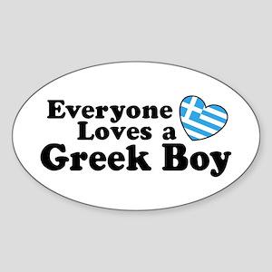 Everyone Loves a Greek Boy Oval Sticker