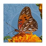 Fritillary Butterfly Doodle Critter Tile Coaster
