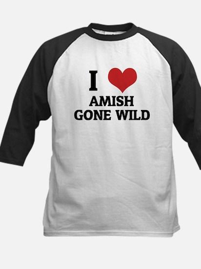 I Love Amish Gone Wild Kids Baseball Jersey