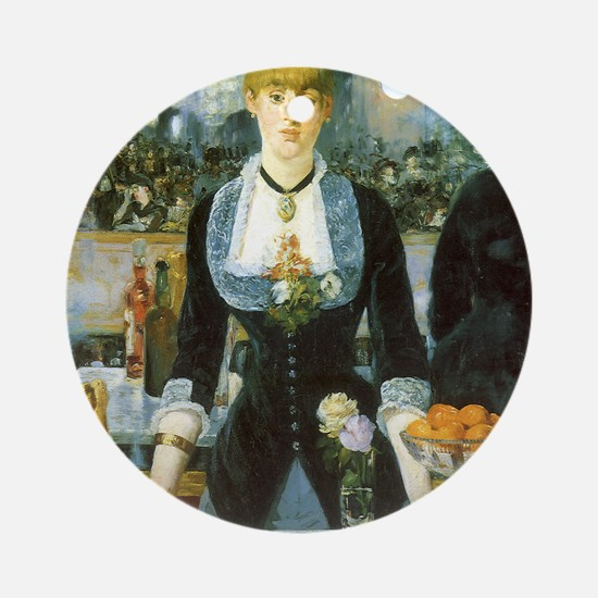 Manet, A Bar at the Folies-Bergere Ornament (Round