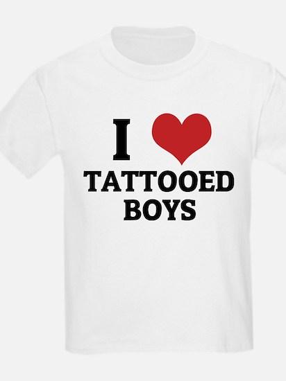i love tattooed boys kids t shirt