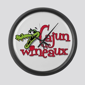 Cajun Wineaux gator Large Wall Clock