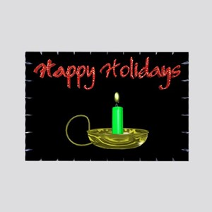 Happy Holidays With a Candle Rectangle Magnet