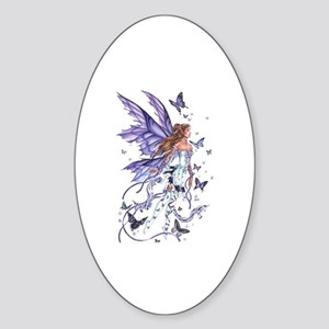 Purple Butterfly Fairy Oval Sticker