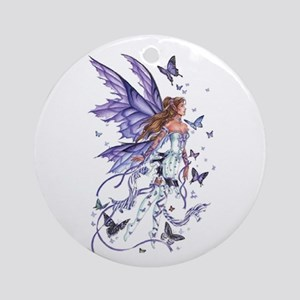Purple Butterfly Fairy Ornament (Round)