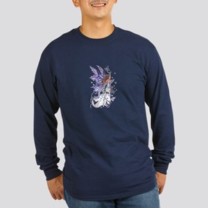 Purple Butterfly Fairy Long Sleeve Dark T-Shirt