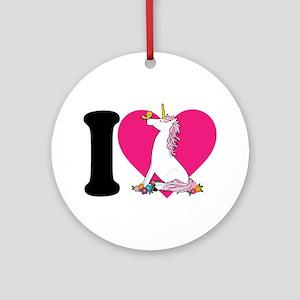 I Love Unicorns Ornament (Round)
