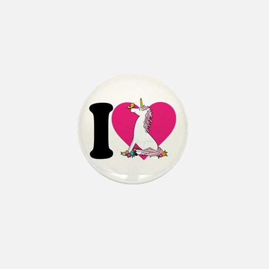 I Love Unicorns Mini Button