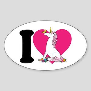 I Love Unicorns Oval Sticker
