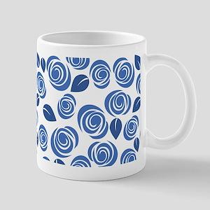 Blue and White Floral Blossoms 11 oz Ceramic Mug