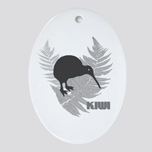 Silver Fern Kiwi Oval Ornament