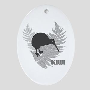 Silver Fern Kiwi Oval Ornament