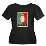 Yes We Can Women's Plus Size Scoop Neck Dark T-Shi