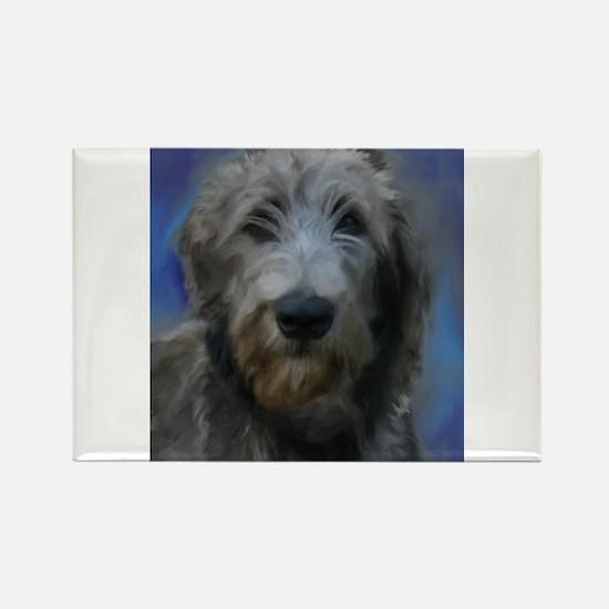 Unique Irish wolfhound art Rectangle Magnet