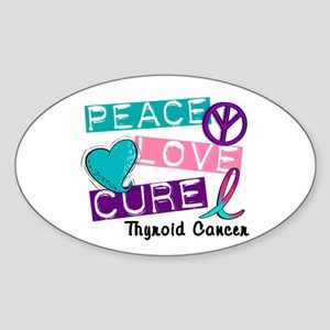 PEACE LOVE CURE Thyroid Cancer (L1) Oval Sticker