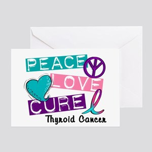 PEACE LOVE CURE Thyroid Cancer (L1) Greeting Card
