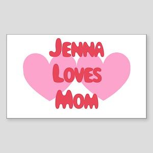 Jenna Loves Mom Rectangle Sticker