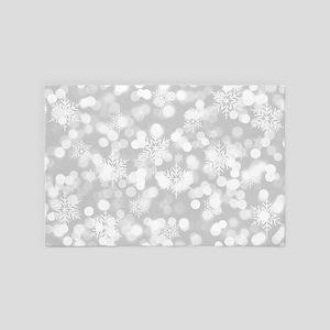Christmas Snowflakes Bokeh Silver Patt 4' x 6' Rug