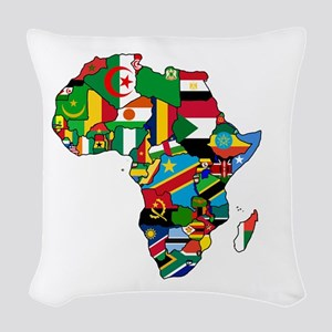Flag Map of Africa Woven Throw Pillow