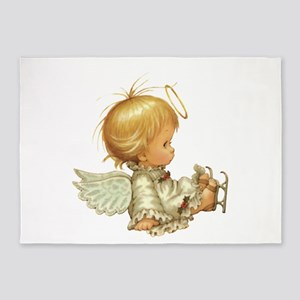 Cute Christmas Baby Angel Skating Accident 5'x7'Ar