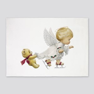 Cute Christmas Baby Angel Skating 5'x7'Area Rug