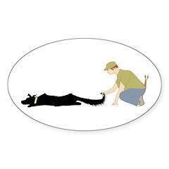 Flyball Start Dog Oval Sticker (50 pk)