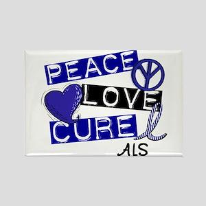 PEACE LOVE CURE ALS (L1) Rectangle Magnet