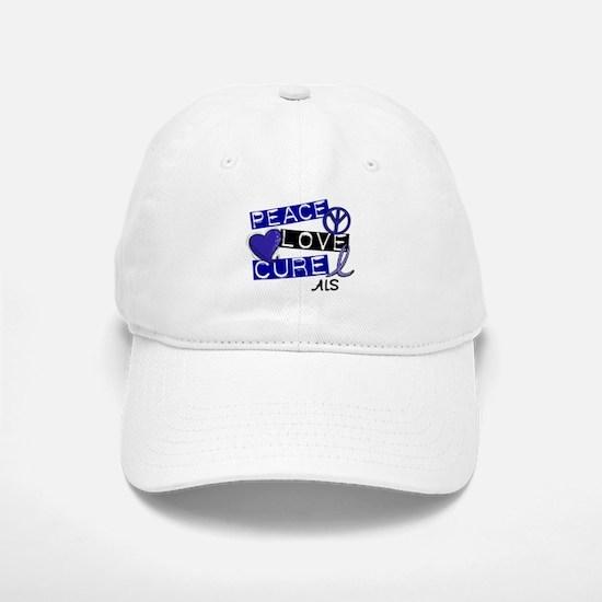 PEACE LOVE CURE ALS (L1) Baseball Baseball Cap