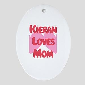 Kieran Loves Mom Oval Ornament