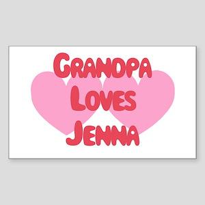 Grandpa Loves Jenna Rectangle Sticker
