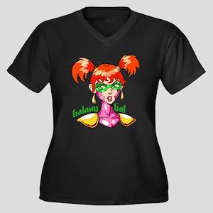 Galaxy Gal Women's Plus Size V-Neck Dark T-Shirt