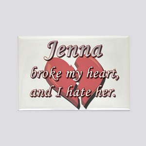 Jenna broke my heart and I hate her Rectangle Magn