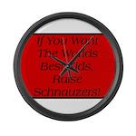 Black Miniature Schnauzer Large Wall Clock
