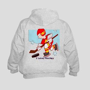I Love Hockey Kids Hoodie