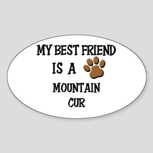 My best friend is a MOUNTAIN CUR Oval Sticker
