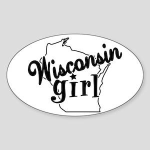 Wisconsin Girl Oval Sticker